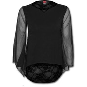 Gothic Elegance Lace Back Goth Women's Large Long Sleeve Top - Black