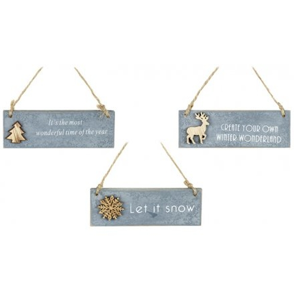 Hanging Christmas Plaques Pack of 3