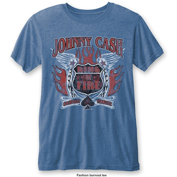 Johnny Cash - Ring of Fire Unisex Large T-Shirt - Blue