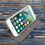 Caseflex iPhone 7 Plus PU Leather Stand Wallet with Felf Lining/ID Slots - Grey (Retail Box)