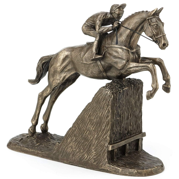 Horse Racing Steeple Chaser by Harriet Glen Cold Cast Bronze Sculpture 16.5cm