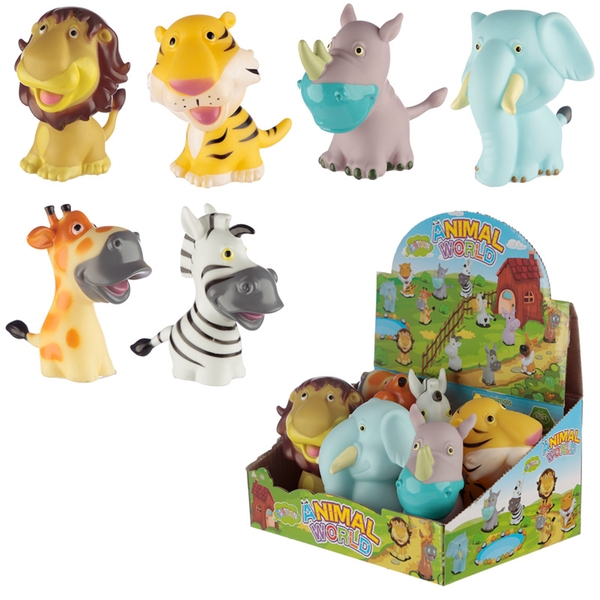 Squeaky Zoo Animals (Pack Of 6) Toy