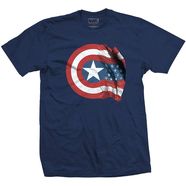 Marvel Comics - Captain America American Shield Unisex Small T-Shirt - Blue