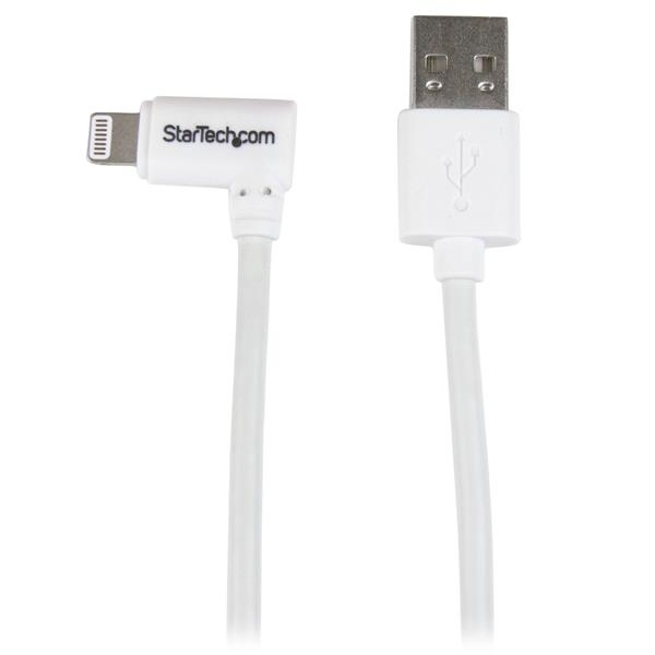 StarTech 1 m 3 ft Angled Lightning to USB Cable White