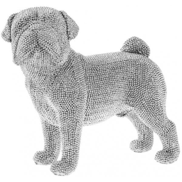 Lesser & Pavey Silver Art Glitter Sparkly Pug Standing Ornament