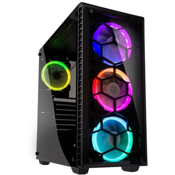 Kolink Observatory Full Tower 1 x USB 3.0 / 2 x USB 2.0 Tempered Glass Side & Front Window Panel Black Case with RGB LED Fans