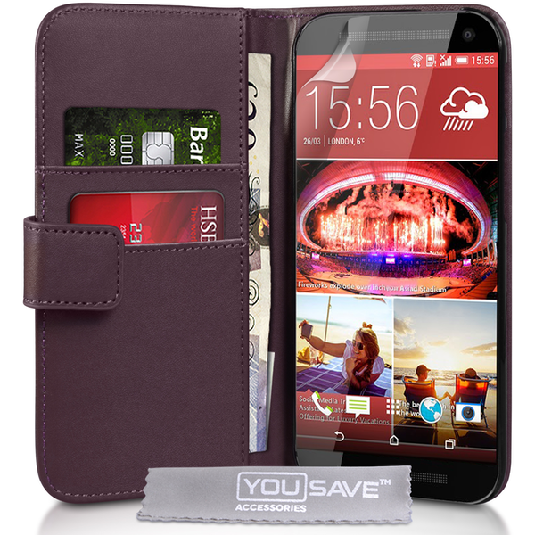 YouSave Accessories HTC One M9 Leather-Effect Wallet Case - Purple