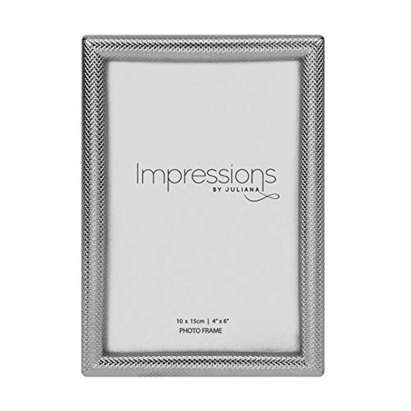 "4"" x 6"" - Impressions Textured Silver Finish Photo Frame"
