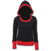 Urban Fashion Wide Rib DrapeWomen's Small Hoodie - Black