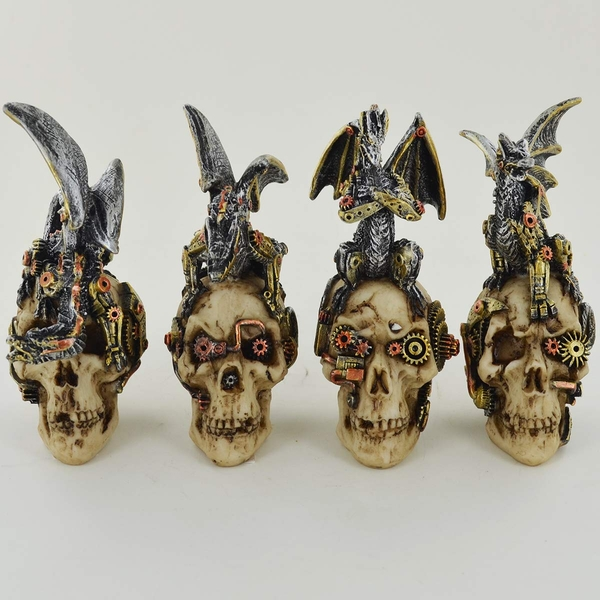 Steampunk Mechanical Skulls with Dragons (Set of 4)