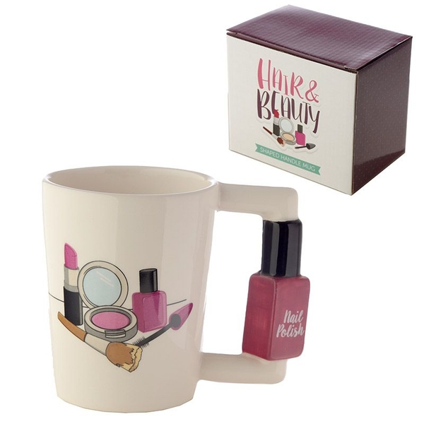 Nail Varnish Ceramic Shaped Handle Mug