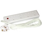 Pifco 4 Way UK Plug 13A 250V Extension Lead with 2 Metre High-Quality Cable - Neon Power On Indicator - White