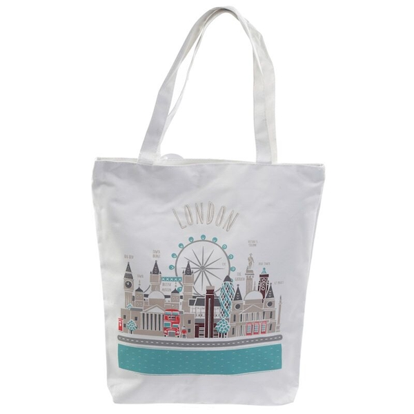 London Icons Handy Cotton Zip Up Shopping Bag