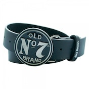 JACK DANIEL'S Classic Old No.7 Circular Black Belt Buckle, Large Leather Belt