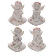 Cherub Sitting on Heart with Pink Roses (Pack Of 4)