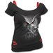 Night Hunter Women's Small Short Sleeve 2 In 1 Red Ripped Top - Black - Image 2