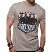 Justice League Comics - Silhouette Shield Men's Large T-Shirt - Grey