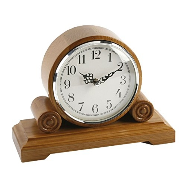 Barrel Rounded Mantel Clock - Oak Effect