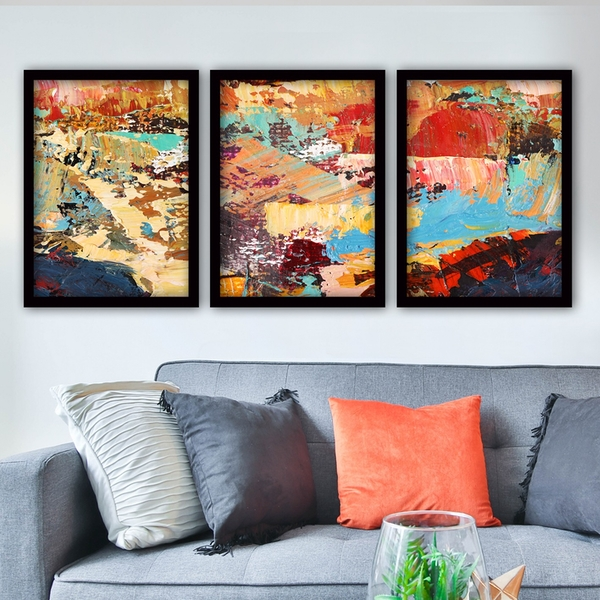 3SC197 Multicolor Decorative Framed Painting (3 Pieces)