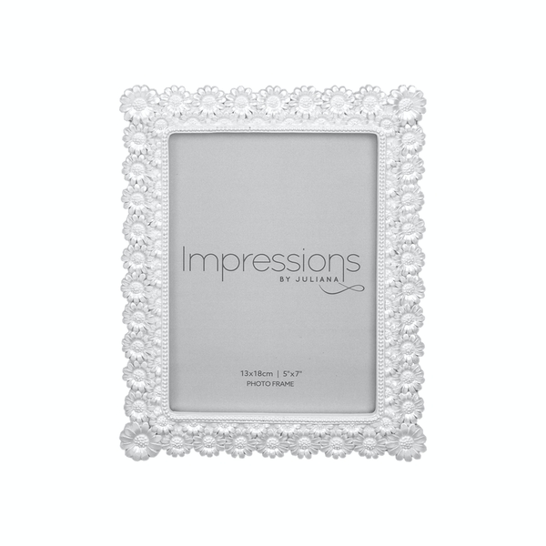 """5"""" x 7"""" - IMPRESSIONS Pearlised Resin Daisy Photo Frame"""