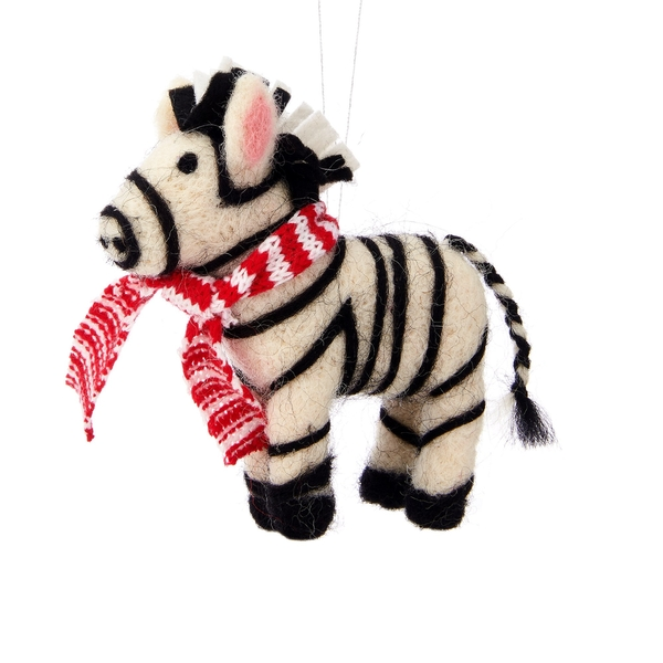 Sass & Belle Christmas Zebra Felt Hanging Decoration