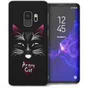 CASEFLEX SAMSUNG GALAXY S9 ANGRY CAT BLACK CASE / COVER (3D)