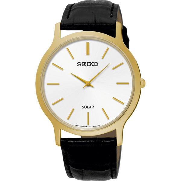 Seiko SUP872P1  Solar Movement Black Leather Strap Watch with White Dial