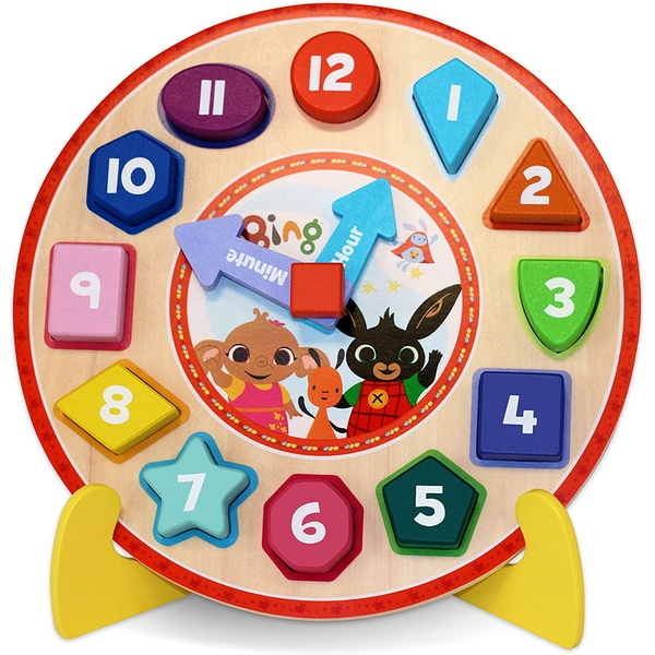 Bing Wooden Puzzle Clock with Stand Activity Toy