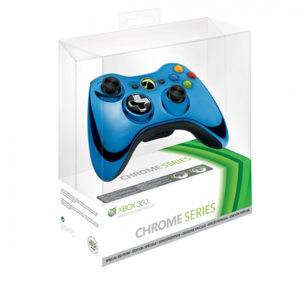 Official Microsoft Blue Chrome Wireless Controller Xbox 360