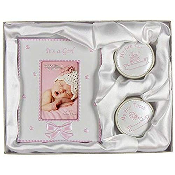 """2"""" x 3"""" - It's A Girl Photo Frame - First Tooth & Curl Boxes"""