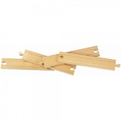 Wooden Railway Straight Track 8 Inch 4 pieces