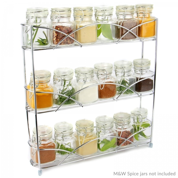 Ex-Display Free Standing 3 Tier Herb & Spice Rack | Non-slip Universal Design Chrome | M&W Used - Like New