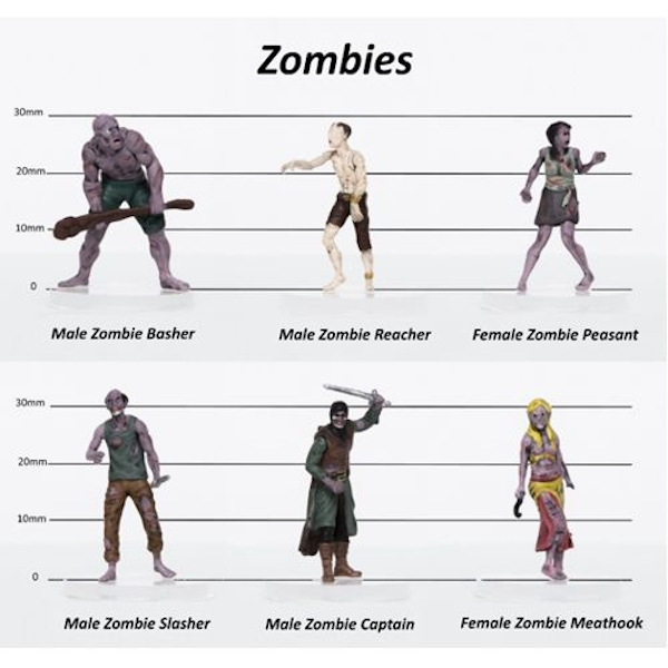 Zombies Party of 6 - Set A - 28mm Pre-painted Plastic Miniatures