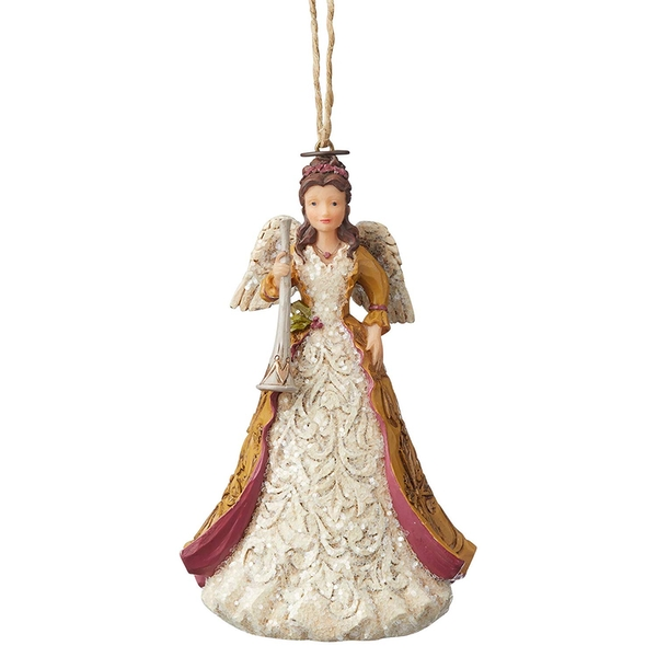Victorian Angel with Horn Hanging Ornament