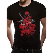 Deadpool - Pose Splash Men's Small T-Shirt- Black