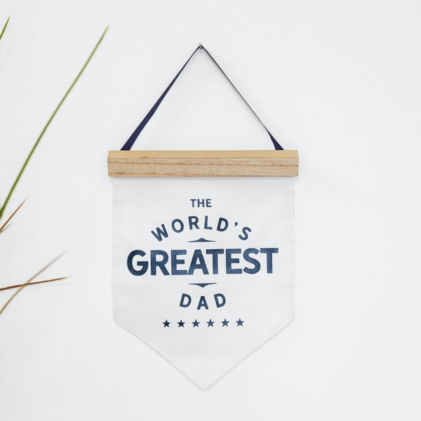 World's Greatest Dad Hanging Canvas Flag