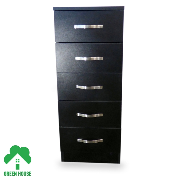 5 Chest Of Drawers Black Bedside Cabinet Dressing Table Bedroom Furniture Wooden Green House