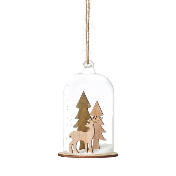 Sass & Belle Natural Wood Stag in Forest Dome Bauble