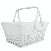 Willow Storage Basket with Cotton Lining | M&W White