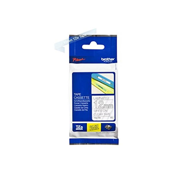 Brother TZe-135 Labelling Tape Cassette, White on Clear, 12 mm (W) x 8M (L), Laminated, Brother Genuine Supplies