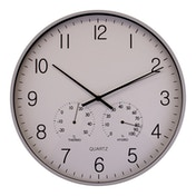 Large Grey Wall Clock with Thermometer and Hygrometer | 40cm