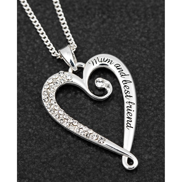 Looped SP Heart Necklace Mum