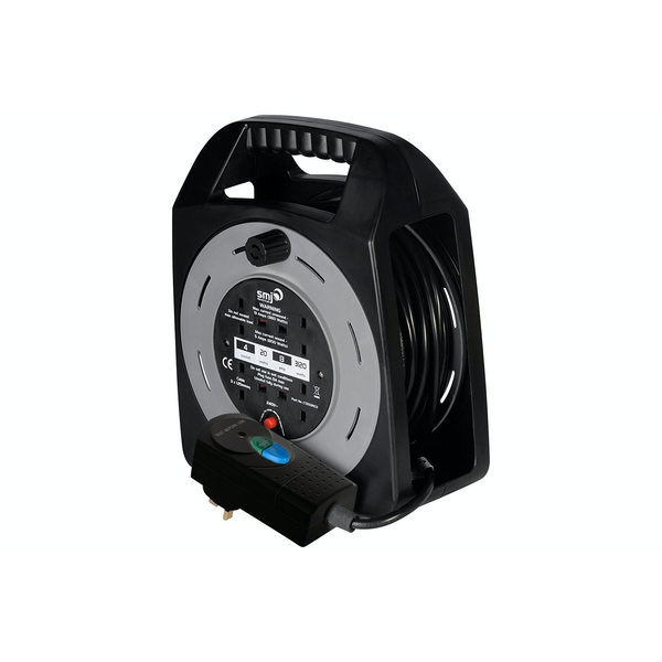 SMJ Electrical 20m 4 Socket Easy Wind Compact Extension Cable Reel UK Plug