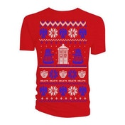 Doctor Who - Ugly Xmas Sweater Men's Small T-Shirt - Red