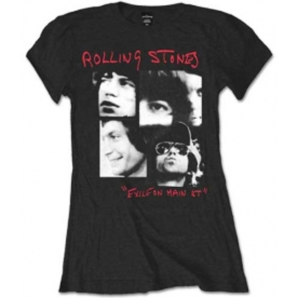 Rolling Stones Photo Exile Black Ladies T Shirt: Small