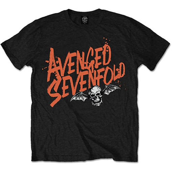 Avenged Sevenfold - Orange Splatter Unisex XX-Large T-Shirt - Black
