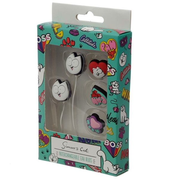 Simon's Cat Set of 4 Interchangeable Earbud Earphones