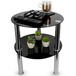 Small Round Glass 2 Tier Table | M&W Black - Image 3