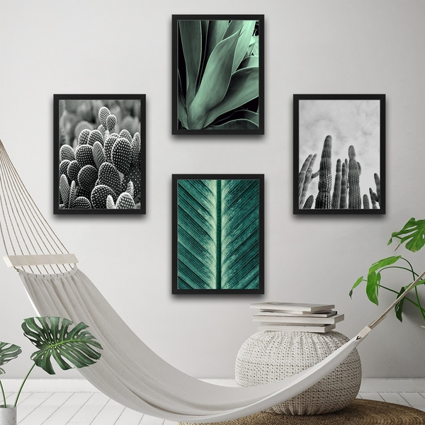 Green & Cactus Set Multicolor Decorative Framed Painting (4 Pieces)