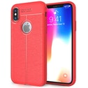 iPhone X Auto Camera Focus Leather Effect Gel Case - Red